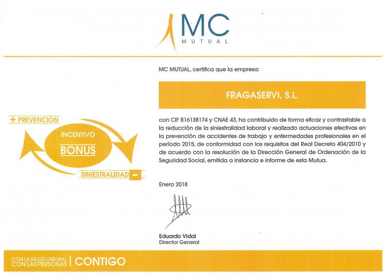 MC Mutual reconoce la labor realizada por Fragaservi para reducir la siniestralidad laboral en los premios MC Mutual